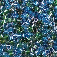 Miyuki 11/0 (1.6mm) Delica Sparkle Lined Caribbean Mix glass cylinder beads, colour number DB 985. UK seller.