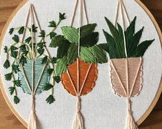 Hanging plants embroidery , hoop art , plant art , hand embroidery , new home decor , decorator ideas , gifts under 50