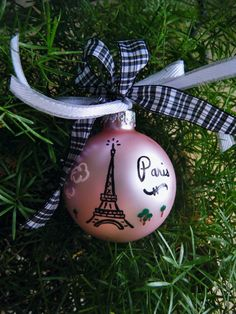 Eiffel Tower Ornament - Personalized Paris France Vacation Ornament - Handpainted Glass Ball Christmas Ornament @Brittany Tomlinson