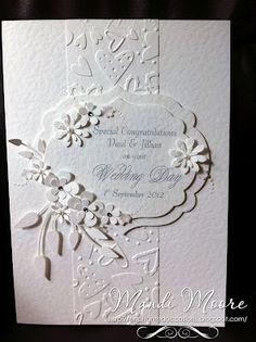 White on white weedding card