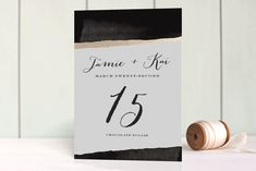 """Inkblot"" - Modern Foil-pressed Wedding Table Numbers in Ink by The AV Design Factory."