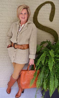Fashion over 40  Boyfriend Cardigan styling on 50isnotold.com