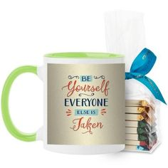 Be Yourself Script Mug, Green, with Ghirardelli Assorted Squares, 11 oz, Beige