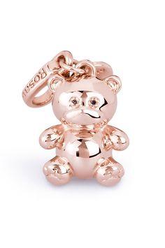 Charm orsetto in argento 925 con bagno in oro rosa versione big - limited edition  -  #mothersday
