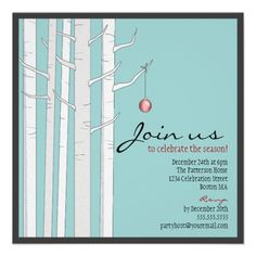 Shop Holiday Party Birch Tree & Red Ornament Invitation created by kat_parrella. Personalize it with photos & text or purchase as is! Christmas Dinner Invitation, Holiday Party Invitation Template, Cocktail Party Invitation, Dinner Party Invitations, Christmas Party Invitations, Invitation Templates, Red Christmas Ornaments, Christmas Holiday, Holiday Ideas