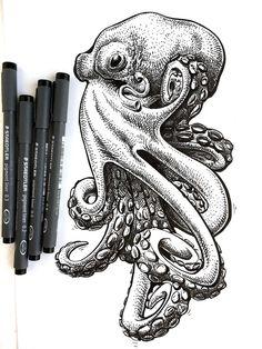 Octopus Sketch, Octopus Drawing, Octopus Illustration, Octopus Tattoo Design, Octopus Tattoos, Cute Octopus Tattoo, Animal Sketches, Animal Drawings, Art Sketches