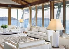 Living Room : Glamorous Beach Living Room Design Ideas With Good Looking Appearance With White Beach Living Room Design Ideas With Glass Wall And White Sofa Sets And Long Table On The White Rug Glamorous Beach Living Room Design Ideas With Good-looking Appearance Beach Living Rooms Ideas. White Living Room Chairs For Sale. White Living Room Chairs.