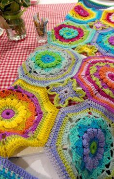 Sue Pinner blanket using Carousel Special Dk leftovers   crochet blanket