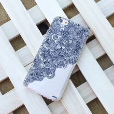 Clear Plastic Case Cover for iPhone 5 5S - (Henna) Floral Wave