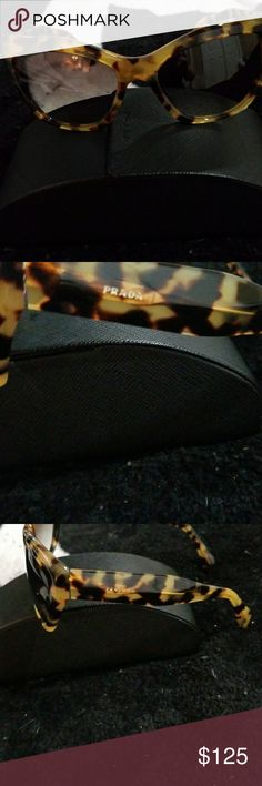 Sunglasses with case Original Prada sunglasses I  perfect condition. Tortisshell color,  came from Saks, worn 1 time . To tight for my head . Love love the style . Purchased through Saks. Prada Accessories Sunglasses
