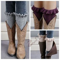Womens Knit Leg Warmers boot cuffs Knit ladies leg warmers in variety of colors with frill edge can be worn under any style of boots.   #BuyLadiesAccessories #Buyheadbands #Buylegwarmers