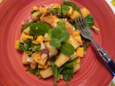 Tropical salad with grilled mangoes and pineapple...