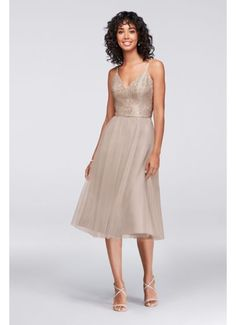 Tea Length Blue Soft & Flowy David's Bridal Bridesmaid Dress