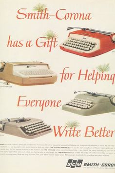 Christmas advertisement for Smith-Corona typewriters, in an assortment of colors. Smith Corona Typewriter, Christmas Ad, Vintage Christmas, Vintage Advertisements, Vintage Ads, Vintage Stuff, Vintage Office, Vintage Typewriters