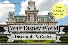 Walt Disney World Discounts, Deals & Codes.  Tips and Tricks to help you save money.  #Disney #travel #discount