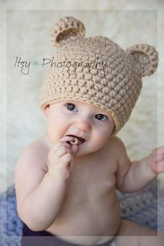 Baby Bear Hat, Crochet Baby Bear Hat, Chunky Bear Hat