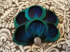 BRANDY in Blue Peacock Feather Hair Clip by Lucyohlucy on Etsy