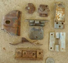 Rusty Metal Assorted Hasps and Hinges with Holes Found Objects for Assemblage, Altered Art or Sculpture - Industrial Salvage. $6.00, via Etsy.