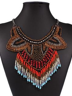 Multicolor Beaded Tassel Statement Collar Necklace
