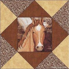 Horses Horse Quilt Blocks change colours, use photo of dreamy eyes, fast… Quilt Block Patterns, Pattern Blocks, Quilt Blocks, Horse Quilt, Horse Fabric, Western Quilts, Barn Quilts, Quilting Projects, Quilting Designs