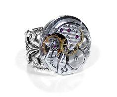 Steampunk Ring Vintage HAMILTON Pinstripe Adjustable Silver Filigree Ring RARE Round STUNNING - Steampunk Jewelry by edmdesigns. $195.00, via Etsy.