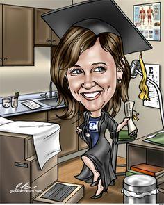Nursing or medical school graduation gift caricature #nursesgraduationgifts #medschoolgraduationgifts