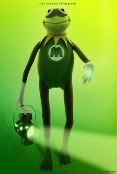 Disney Release Muppets Poster Featuring Kermit As Green Lantern The Muppets 2011, Die Muppets, Miss Piggy, Jim Henson, Sapo Kermit, Dc Comics, Big Joke, Green Lantern Corps, Green Lanterns