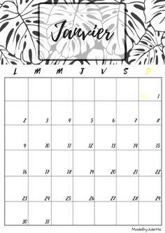 Calendrier - Janvier 2017 - Imprimes le calendrier pour customiser ton agenda! A VOIR : ma vidéo sur youtube