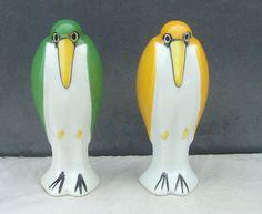 LIMOGES PORCELAIN ART DECO BIRDS SALT & PEPPER