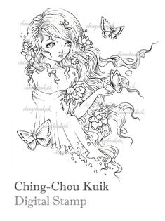 So Long Yesterday - Digital Stamp Instant Download / Butterfly Flower Girl Fantasy Art by Ching-Chou Kuik