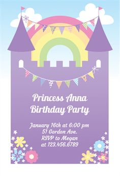 Free printable girl fun birthday invitation cake cupcakes purple castle printable invitation template customize add text and photos print filmwisefo