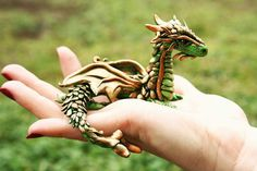 "Polymer Clay Dragon (Loved that elsewhere someone called this a ""realistic"" looking dragon? Realistic like in how ""real"" dragons look?"