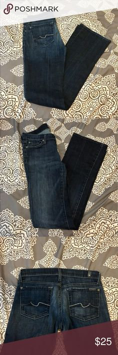 7 for all mankind bootcut jeans Size 27 boot cut jeans. Worn but in good condition. Small fray on heal of jean. 7 For All Mankind Jeans Boot Cut