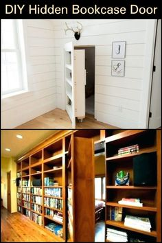 Learn how to build a secret bookcase door for your home! Loft Storage, Kitchen Storage, Storage Ideas, Secret Storage, Hidden Storage, Secret Rooms, Secret Space, Bookcase Door, Secret Compartment