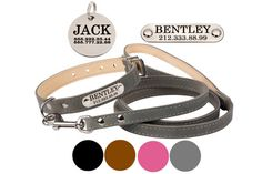 Personalized Leather Dog Collar Leash Set Pink Gray Brown