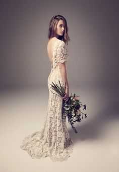 Backless crochet lace train wedding dress design idea