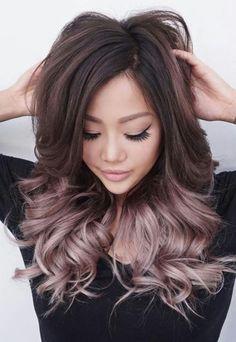 tendance-couleur-de-cheveux-rose-gold-balayage-ombre-on-brunette-hair.jpg (640×928)