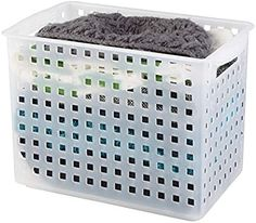 "Amazon.com: iDesign Modulon X/4 BPA-Free Plastic Stackable Storage Bin with Handles - 8.63"" x 8.5"" x 13.88"", Frost: Home & Kitchen Chest Freezer Organization, Freezer Storage, Basket Shelves, Storage Baskets, Tall Bathroom Storage Cabinet, Stackable Bins, Upright Freezer, Plastic Storage, Ideas"