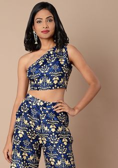 Navy Print One Shoulder Silk Crop Top #Fashion #FabAlley #Tunic #WeddingWear #Marriage #Indya