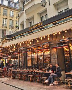 Mid-morning cafe at Le Compas, Paris Restaurant Paris, Outdoor Restaurant, French Cafe, French Bistro, Best Cafes In Paris, Rue Montorgueil, My Little Paris, Sidewalk Cafe, Parisian Cafe