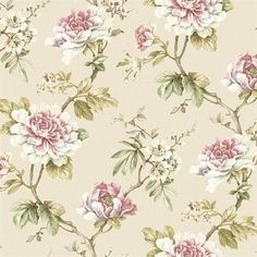 Pink and Beige Madaline Floral Wallpaper