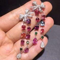 Alan Chang Multiple gemstones with diamonds earrings - August 03 2019 at Jewelry Stores Near Me, Best Jewelry Stores, Types Of Earrings, Bridal Jewelry Sets, Beautiful Earrings, Fine Jewelry, Gold Jewellery, Silver Jewelry, Diamond Earrings