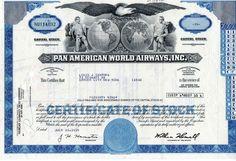 Pan American World Airways NU114032 July 31, 1975 -79 Shares Certificate Vintage