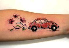Vw Tattoo, Beetle Tattoo, Love Tattoos, Tatoos, Vw Beetles, Henna, Watercolor Tattoo, Tatting, Ink