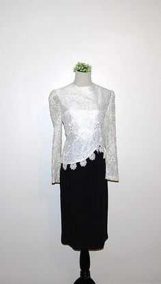 Vintage Black Dress with Lace by CheekyVintageCloset on Etsy, $34.00