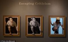 Pere Borrell del Caso was a Spanish Catalan painter, illustrator and engraver, best known for his painting Escapando de la crítica (Escaping criticism) (1874). A take on it is shown here and is an example of trompe-l'¿il. It blurs the boundary between real and fictitious space