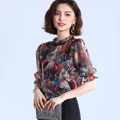 69769add49644 Women Clothing New 2018 Summer chiffon Tops printed round Neck Ruffle Top  Woman half Sleeve Vintage Blouse Shirt plus size Price history.
