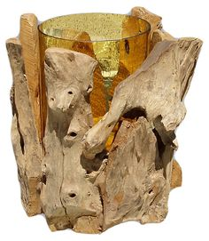 Wooden Hurricane w/ Glass, Amber | The Find | One Kings Lane