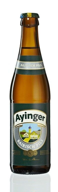 Cerveja Ayinger Bairisch Pils, estilo Bohemian Pilsener, produzida por Ayinger, Alemanha. 5% ABV de álcool.