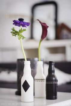 Painted soda bottles are vases fraeulein-klein.b...